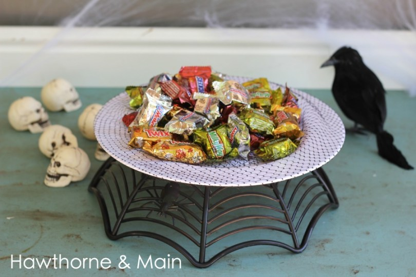 DIY Halloween Cake Stand using cheap Dollar Tree materials, Hawthorne and Main
