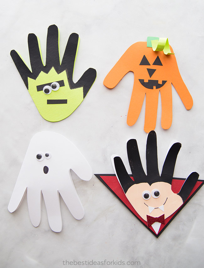 Halloween Handprints, vampire, ghost, pumpkin, Frankenstein - The Best Ideas for Kids