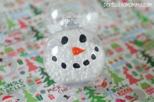 DIY Chrismtas ornaments for kids to make - DIY Snowman Ornament for kids - Centsable Momma