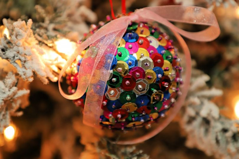 Sequin holiday ornament tree deocrating - 4 the Love of Food Blog