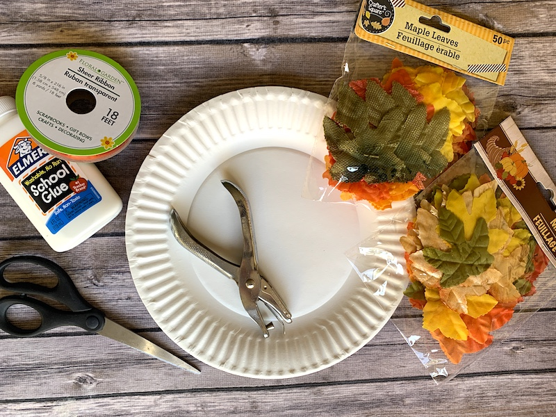 Materials for fall leaf wreath craft