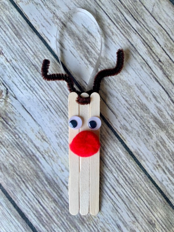 Add googly eyes and a red pompom nose to make a reindeer ornament