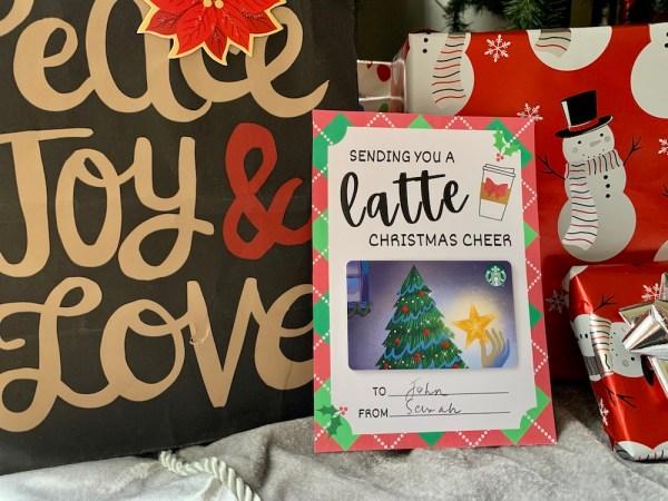 Free printable Christmas gift card holder card coffee latte