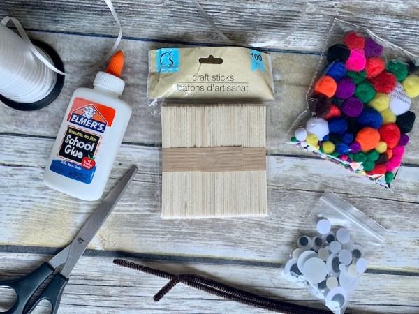 Materials for reindeer ornament craft