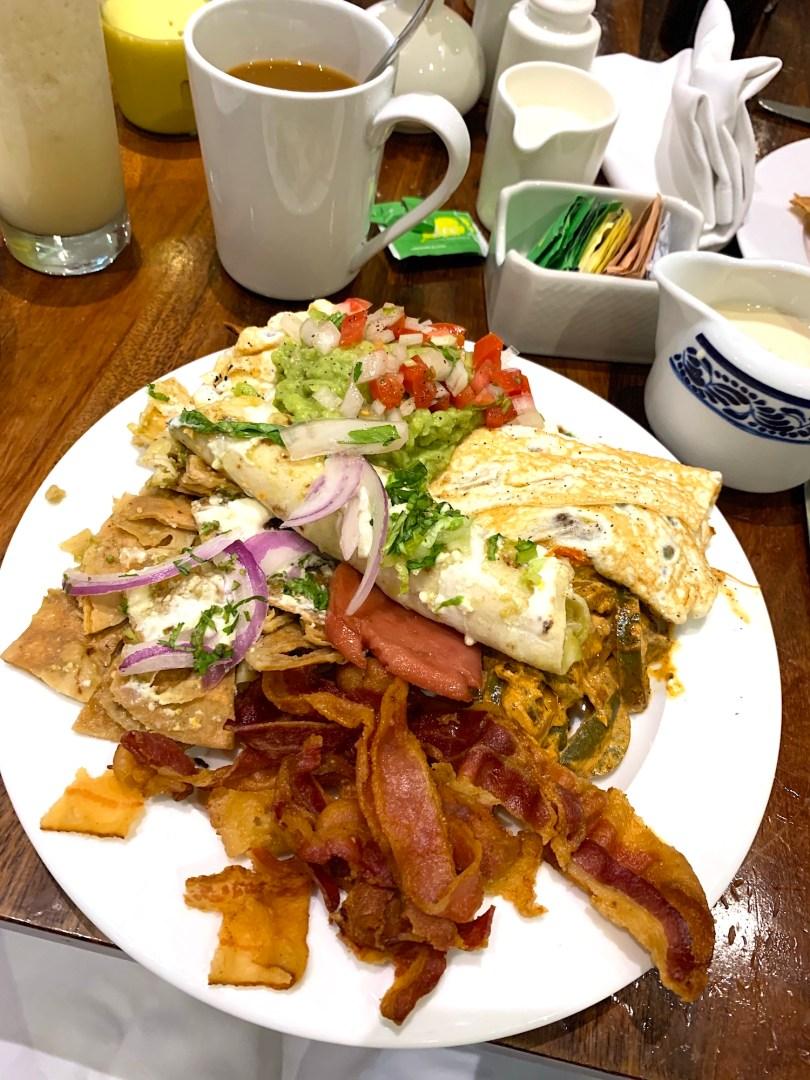 Omelette bacon chilaquiles Breakfast at La Plaza International Buffet Hyatt Ziva
