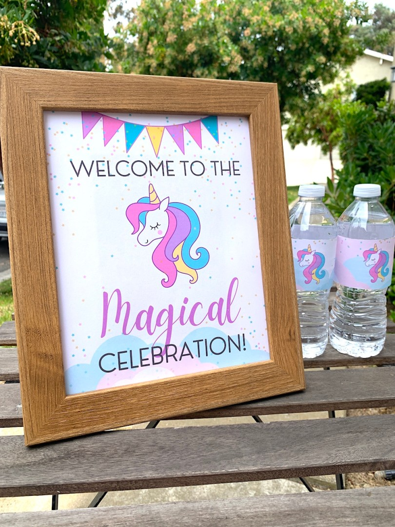 Unicorn birthday party welcome sign