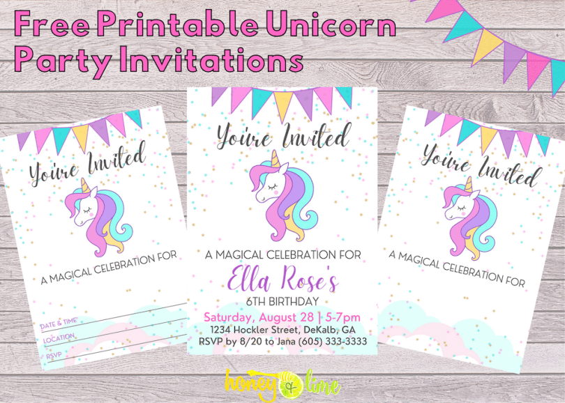 Unicorn party printables - free unicorn birthday invitation design