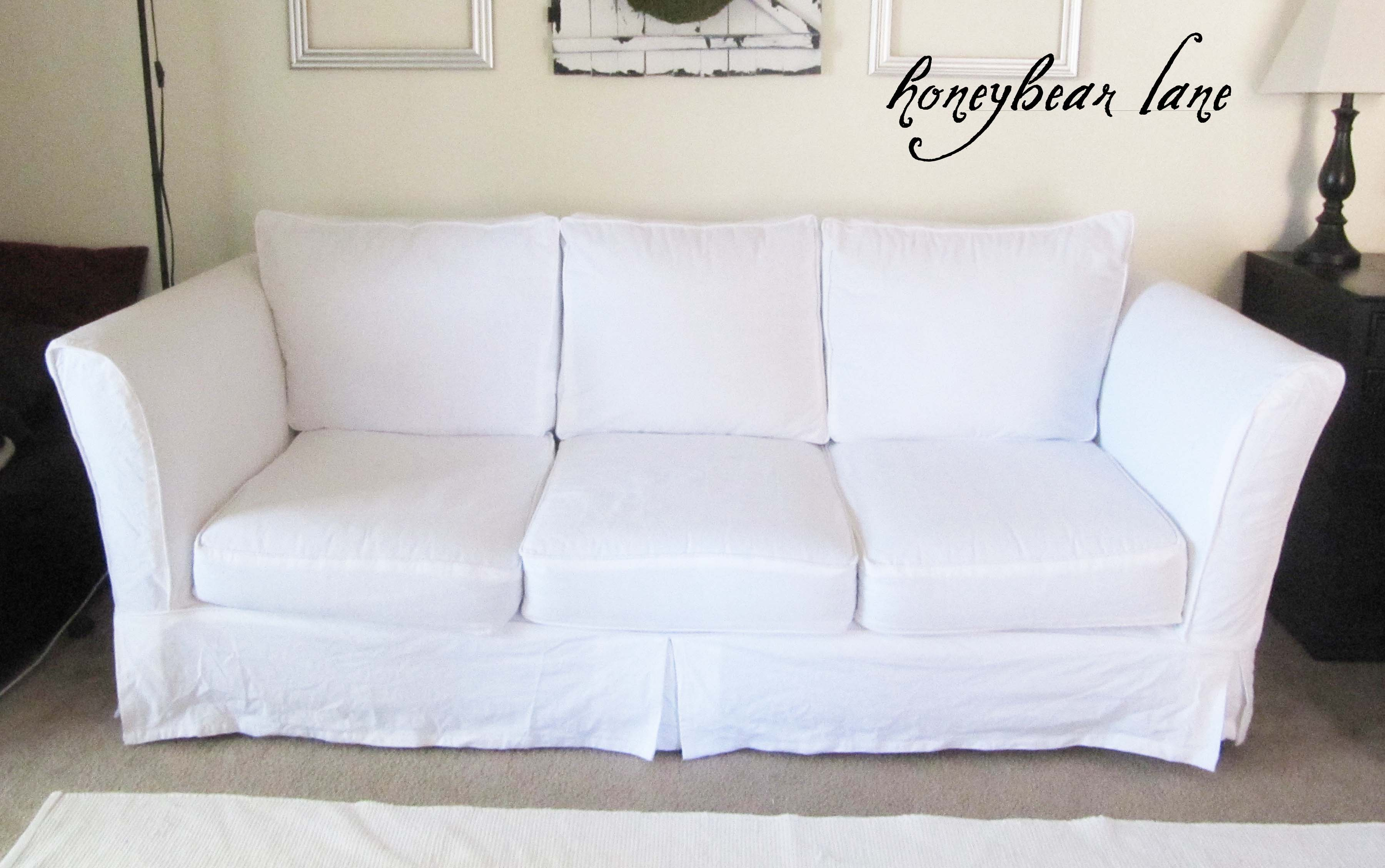 off white slipcover sofa loaf bagsie review cover how to a chair or with loose