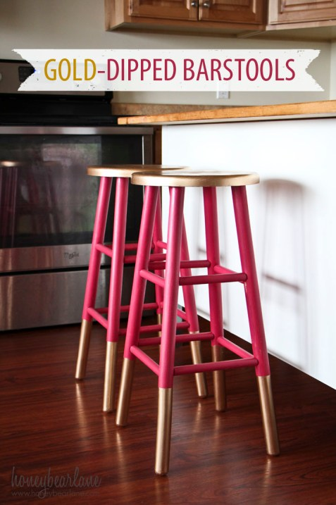 gold dipped painted barstools