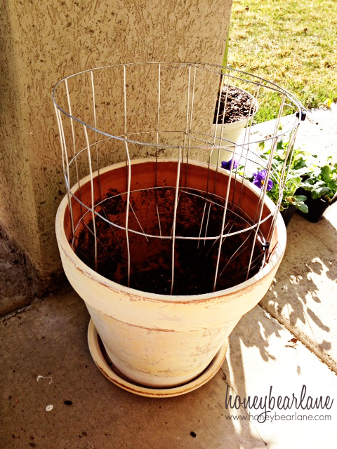 wire fencing flower tower