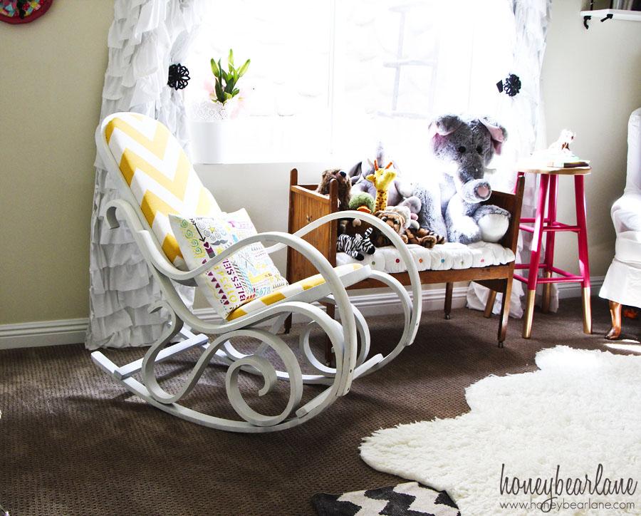 cheap glider chair ex hire covers for sale vintage circus nursery reveal! - honeybear lane