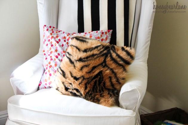 faux tiger fur pillow