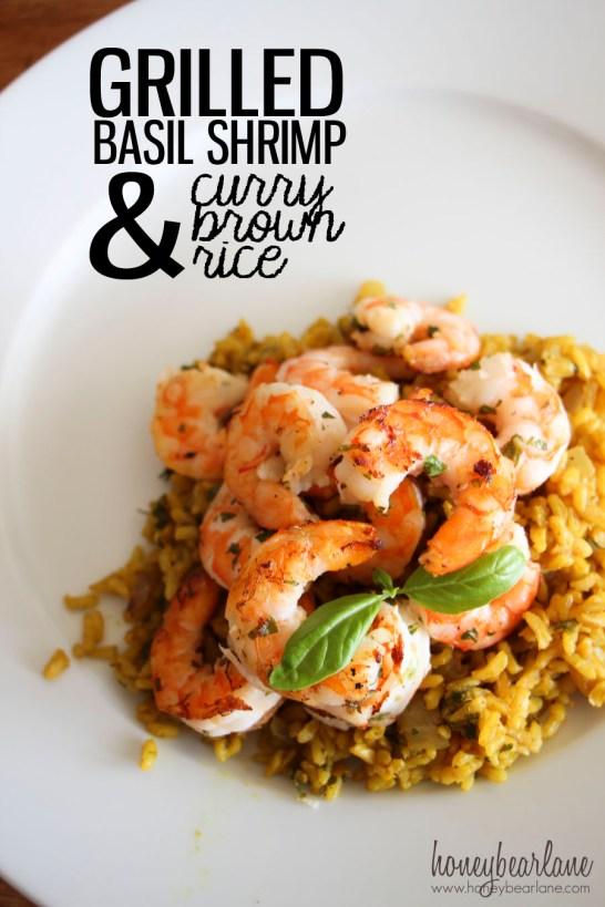 Basil Shrimp and Curry Rice
