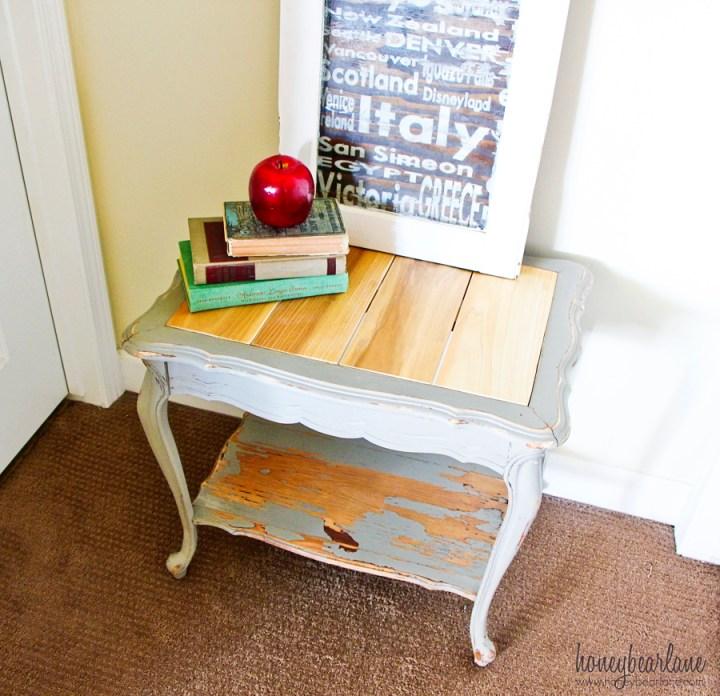 wood plank side table