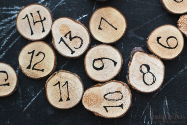 wooden advent numbers