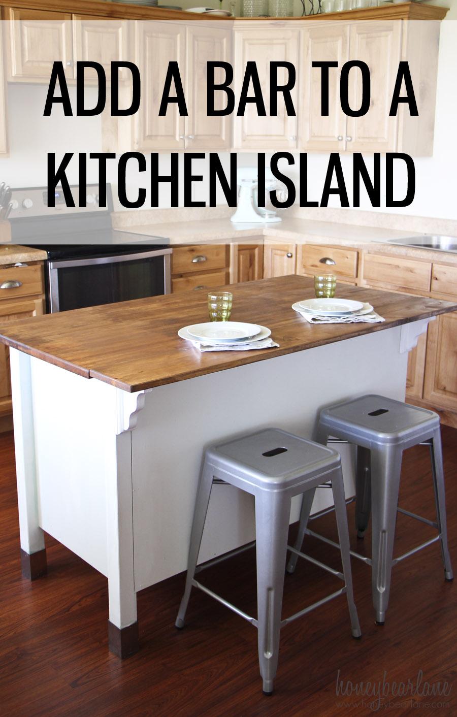 Adding a Bar to a Kitchen Island - Honeybear Lane