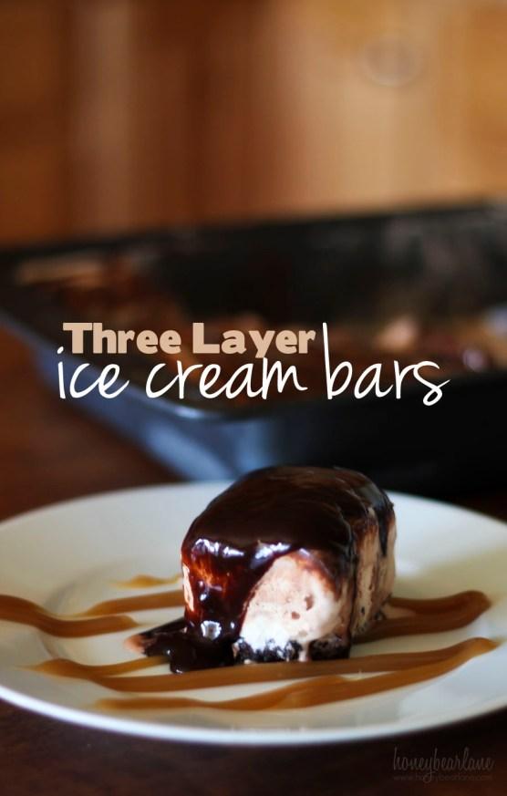 three layer ice cream bars