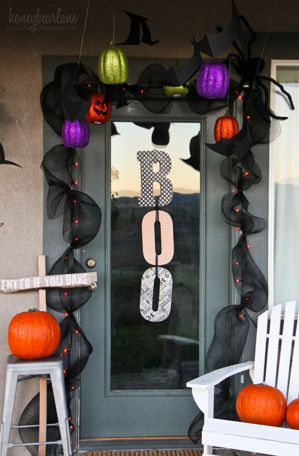 spooky halloween front porch