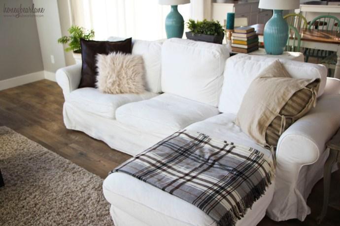 white Ektorp chaise couch
