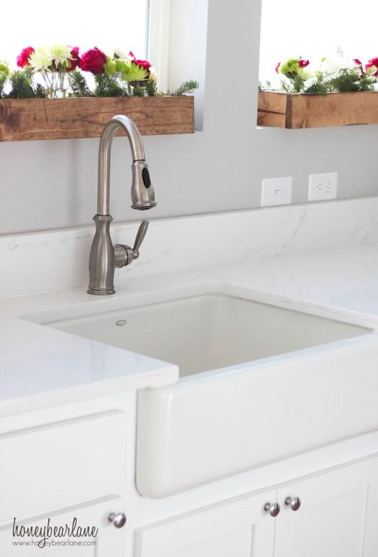 white farmhouse sink