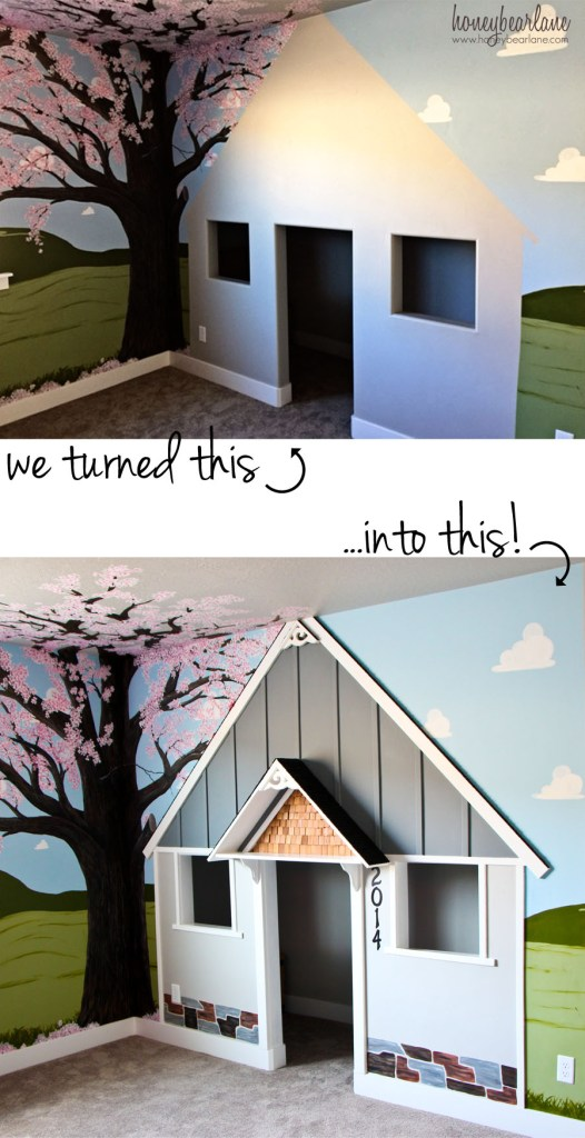 built in playhouse before and after