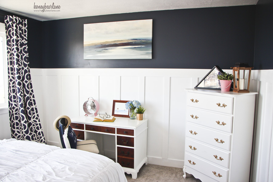 navy blue guest room