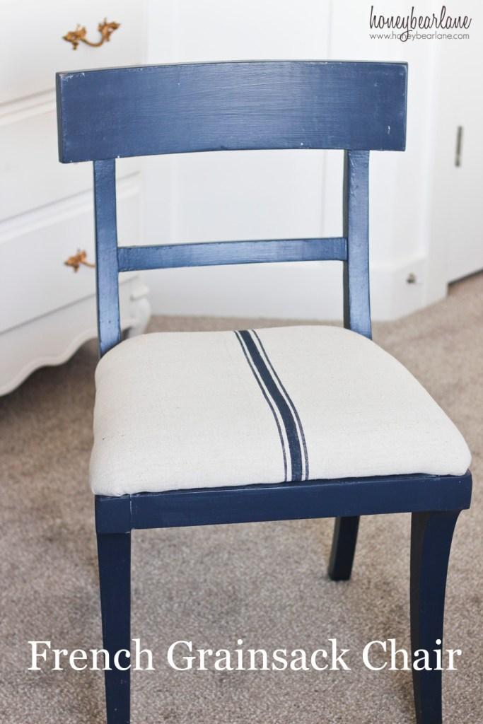 blue french grainsack chair