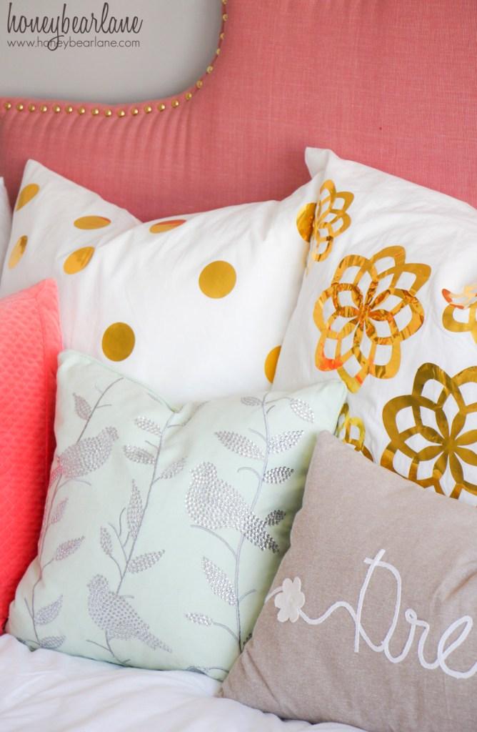 gold vinyl pillows