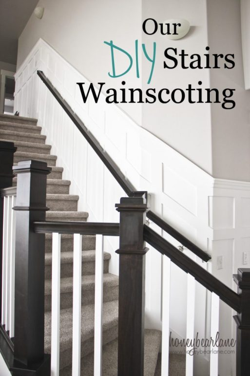 our DIY stairs wainscoting