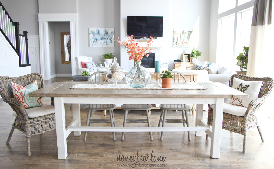 white farmhouse kitchen table and chairs modern lounge for living room diy bench honeybear lane
