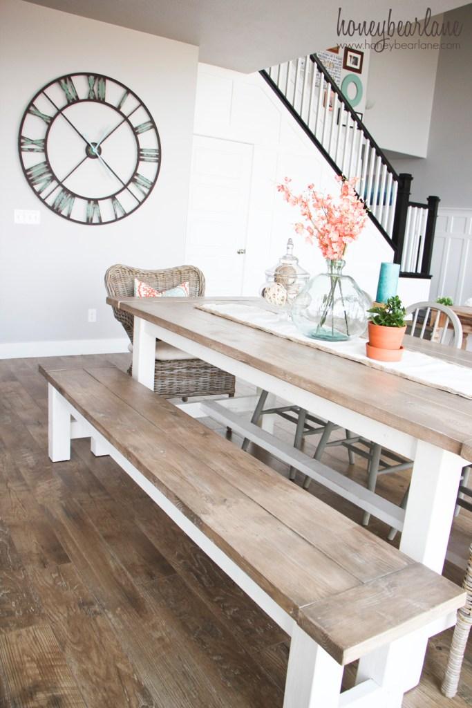Marvelous Diy Farmhouse Table And Bench Honeybear Lane Evergreenethics Interior Chair Design Evergreenethicsorg