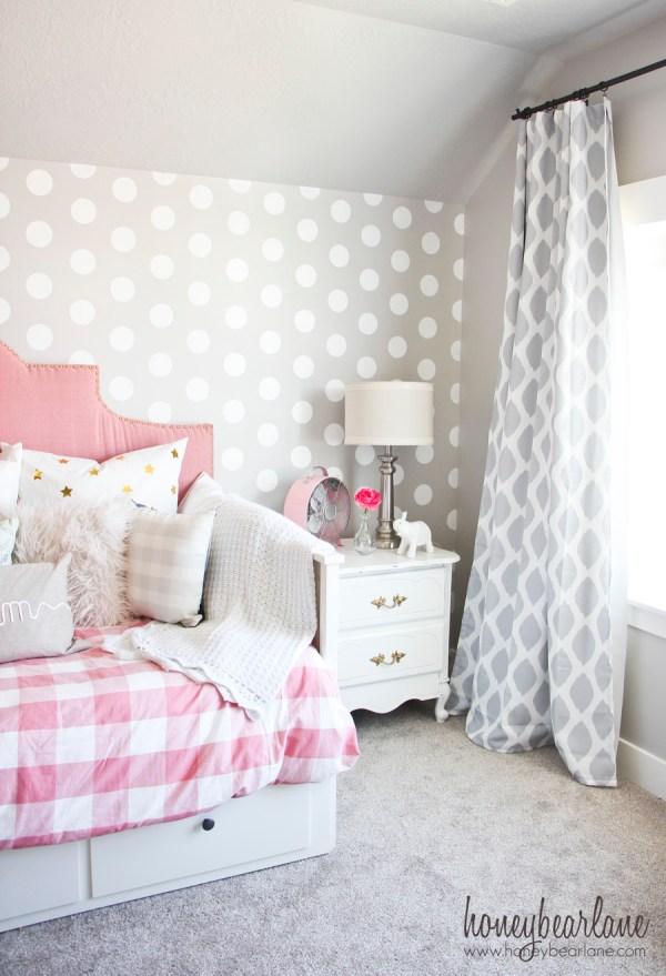 Pink And Gray Girl' Bedroom - Honeybear Lane