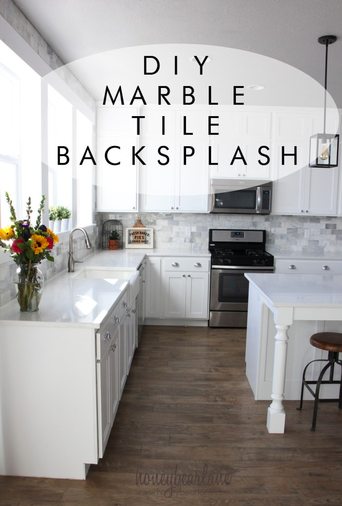 DIY marble tile backsplash