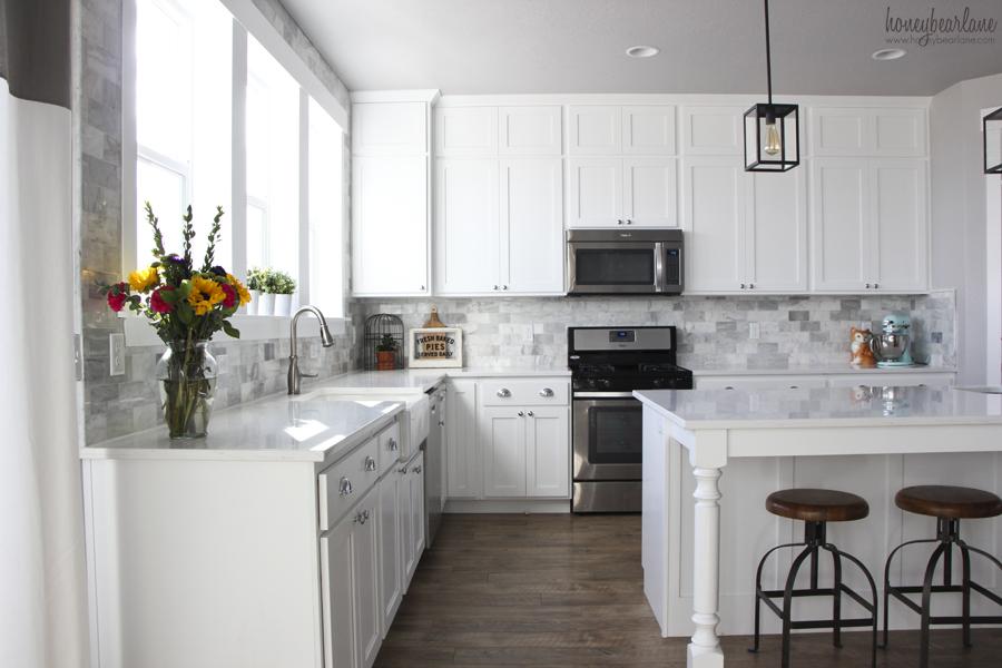 kitchen backspash outdoor cabinet doors my diy marble backsplash honeybear lane subway tile