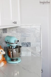 My DIY Marble Backsplash - Honeybear Lane