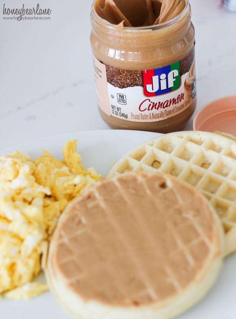 peanut butter on waffles- breakfast ideas