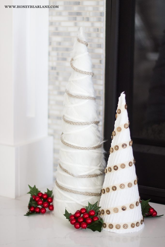 christmas-tree-craft.DIY White Farmhouse Christmas Trees . Make cone trees to decorate for the holidays. The neutral color and layers of texture will look great with any color scheme.
