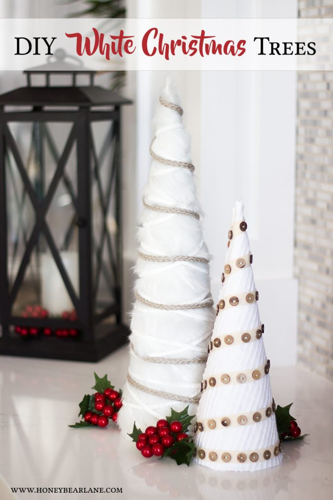 diy-white-christmas-trees.DIY White Farmhouse Christmas Trees . Make cone trees to decorate for the holidays. The neutral color and layers of texture will look great with any color scheme.