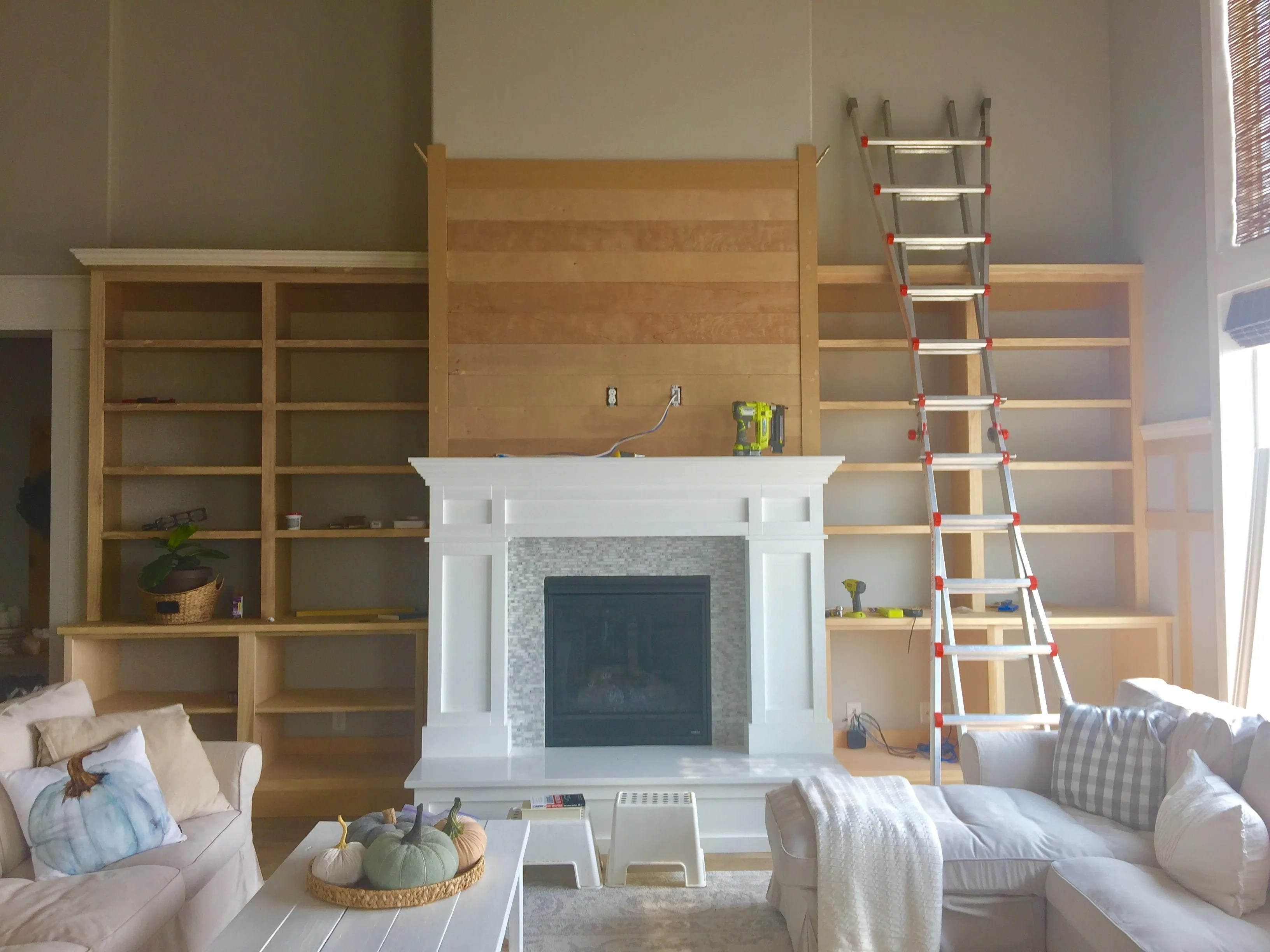 diy built in cabinets around fireplace