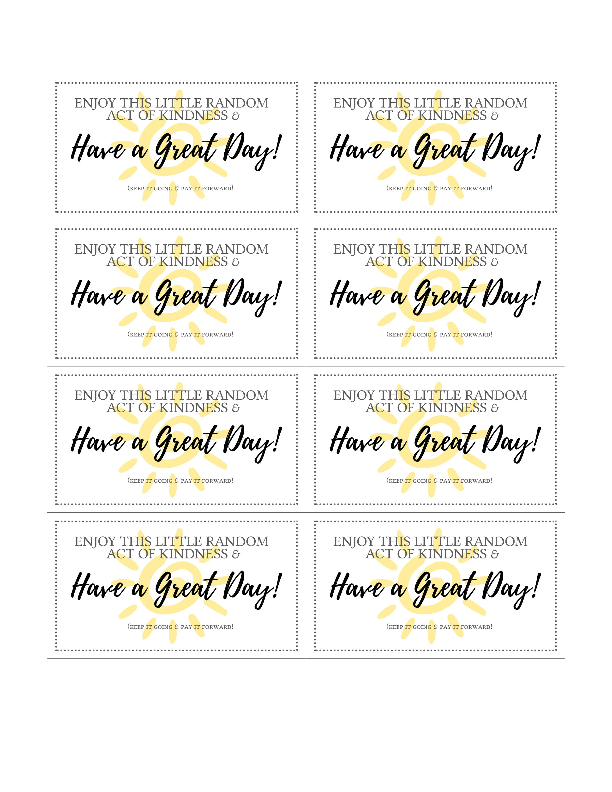 It's just a picture of Unforgettable Kindness Cards Printable