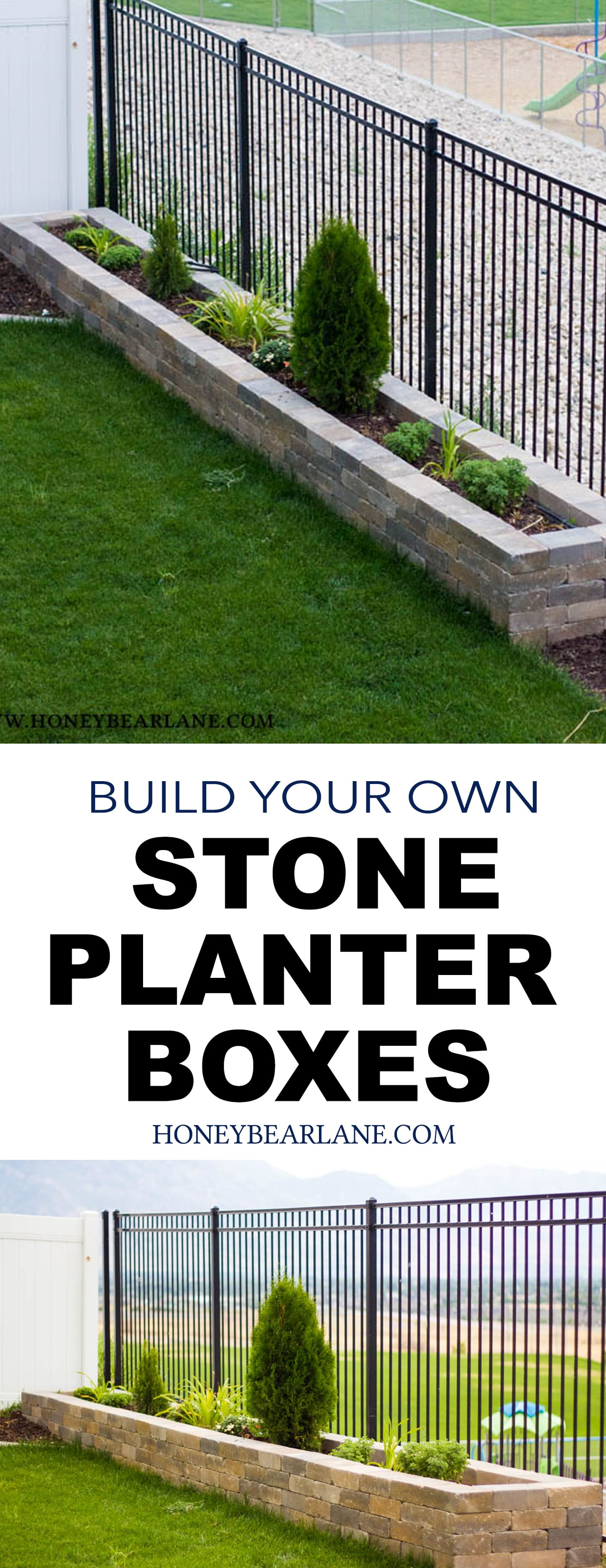 diy stone planter boxes