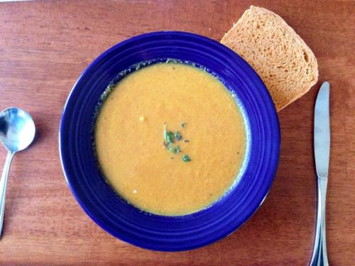 Roasted Carrot Soup and Tomato Bread