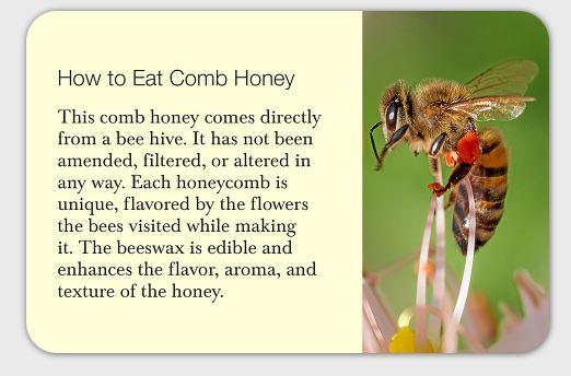 Comb honey card front