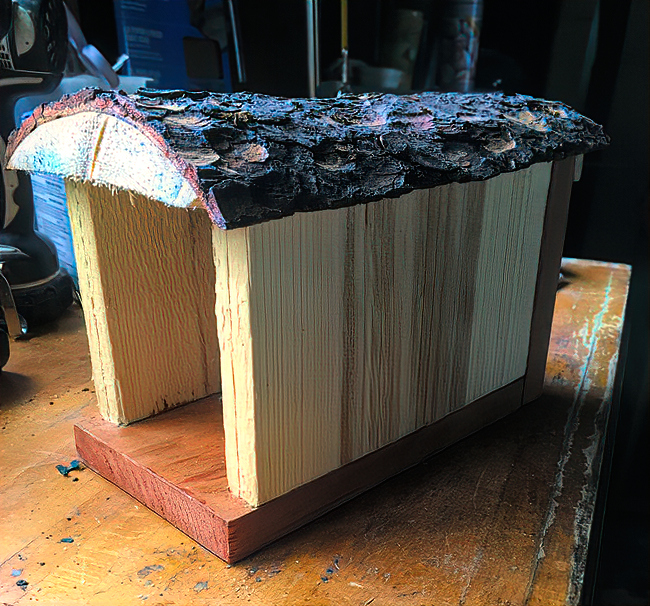 A simple bee house that Pat built herself.