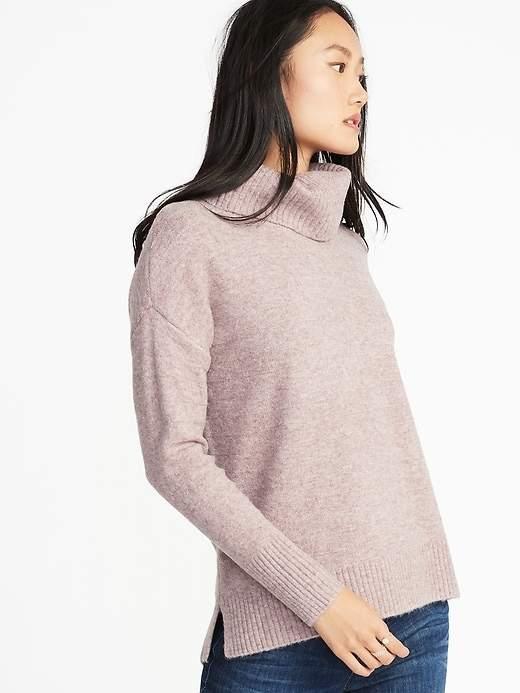 Slouchy Garter-Stitch Turtleneck Sweater for Women