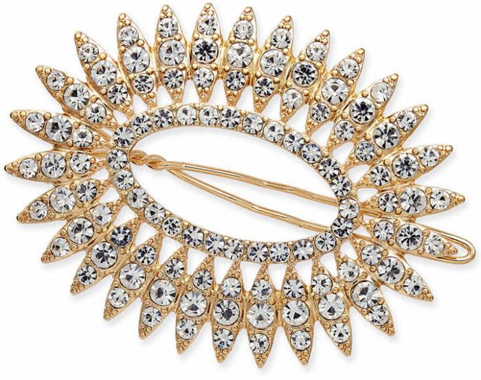 I.n.c. Gold-Tone Crystal Oval Hair Barrette