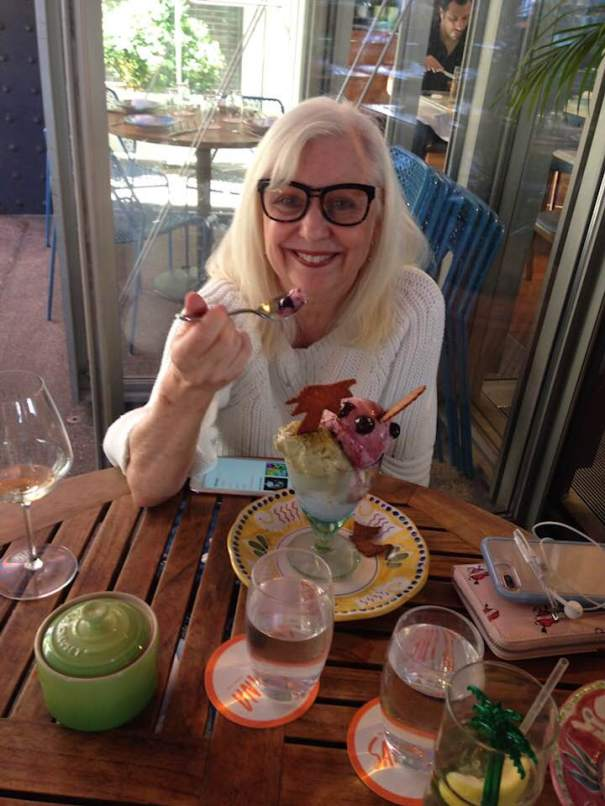 Carolyn Baum celebrating being the foodie that she is