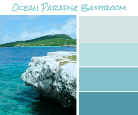 Ocean Paradise Bathroom-A perfect color palette for a tropical bathroom oasis.