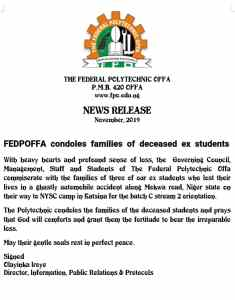 Fedpoffa Management Condoles With The Families Of Deceased Ex Students, Declares Three Days Mourning