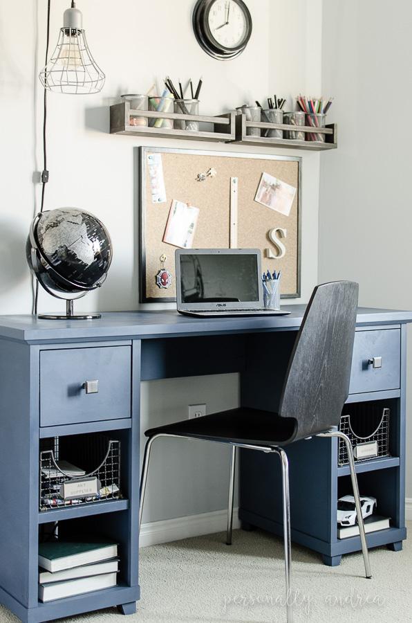 Denim look desk makeover